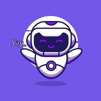 Милый робот талисман иллюстрации мультипликационный персонаж вектор значок