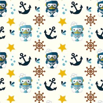 Cute robot nautical and marine symbols seamless pattern