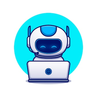 かわいいロボット操作ラップトップ漫画アイコンイラスト。分離された科学技術アイコンコンセプト。フラット漫画のスタイル