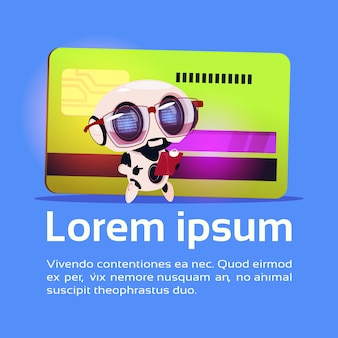 Cute robot read document papers standing over credit card robotic technology payment concept