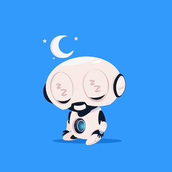 Cute robot sleep isolated icon on blue background modern technology artificial intelligence concept