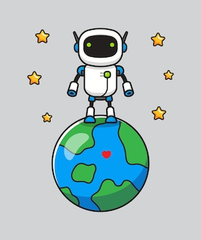 Cute robot standing on planet earth
