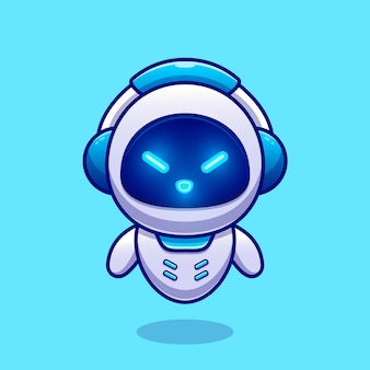 Cute robot wearing headphone cartoon vector icon illustration. technology science icon concept isolated premium vector. flat cartoon style