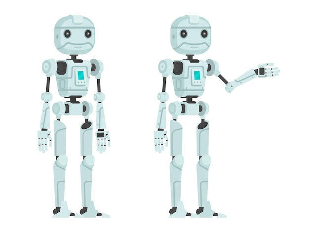 Cute robot on a white . in a flat style