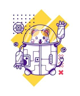 Милый робот с кошкой мультипликационный персонаж иллюстрации