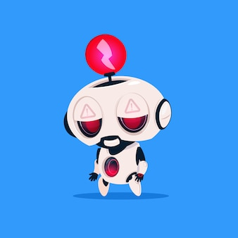 Cute robot with red lightning low charge isolated icon on blue background modern technology artificial