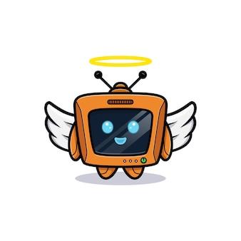 翼のあるかわいいロボット、テレビのキャラクターバージョン Premiumベクター
