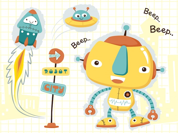 Cute robots cartoon