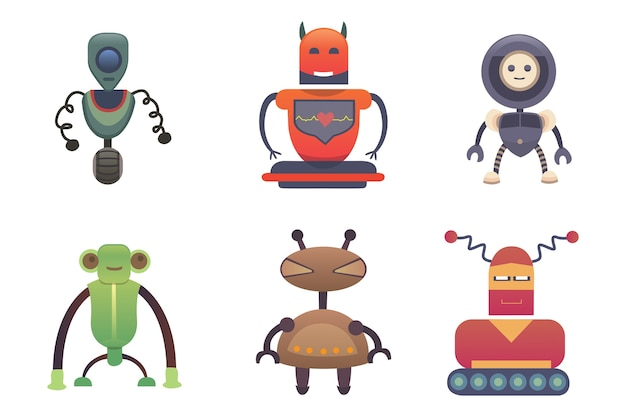 かわいいロボットセットロボットイラストeps
