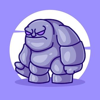귀여운 바위 골렘 만화 마스코트 일러스트 벡터 아이콘