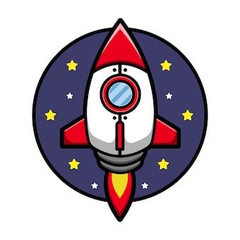 かわいいロケット漫画アイコンイラスト