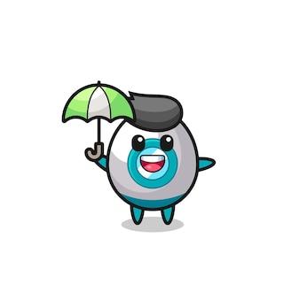 傘を持ったかわいいロケットイラスト、tシャツ、ステッカー、ロゴ要素のかわいいスタイルのデザイン