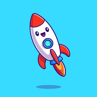 Cute rocket launching cartoon icon illustration.