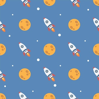 Cute rocket and moon in the space seamless pattern