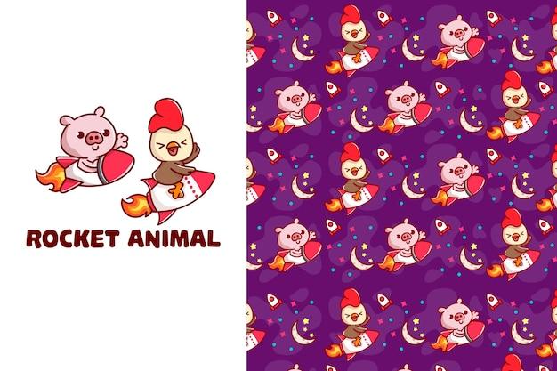 Симпатичные ракетные свиньи и курица бесшовные модели
