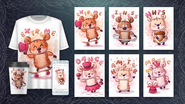 Cute rodent hamster - poster and merchandising