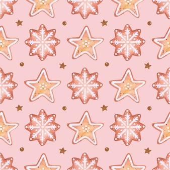 ピンクの背景にかわいいロマンチックなクリスマスクッキーシームレスパターン水彩