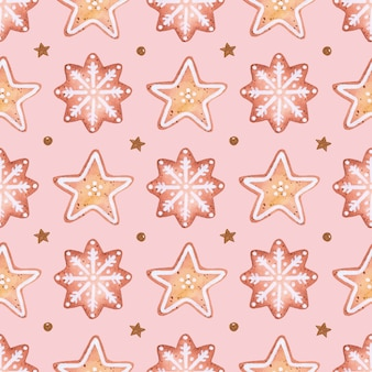 Cute romantic christmas cookies seamless pattern watercolor on pink background