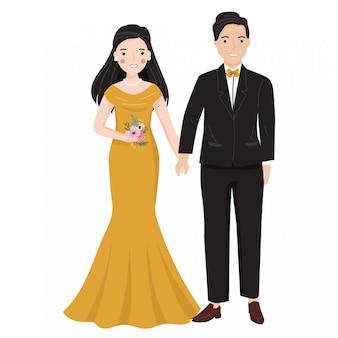 かわいいロマンチックなカップルのウェディングドレスのイラストで新郎新婦