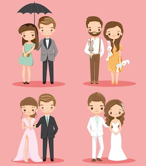 Cute romantic couple cartoon character set