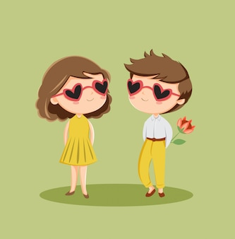 Cute romantic couple character in love