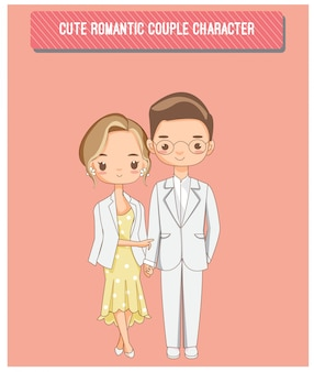 Cute romantic couple charactor for wedding invitations card