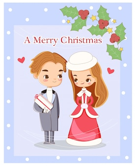 Cute romantic couple for christmas greeting carrd