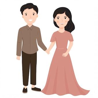かわいいロマンチックなカップルのイラスト