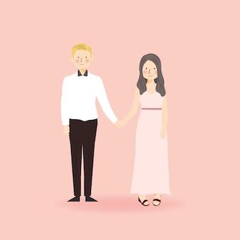 手をつないでイラスト形式の衣装でかわいいロマンチックなカップル
