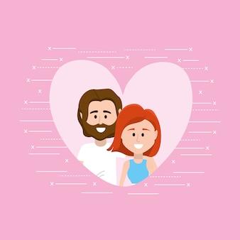 Cute romantic couple inside heart design