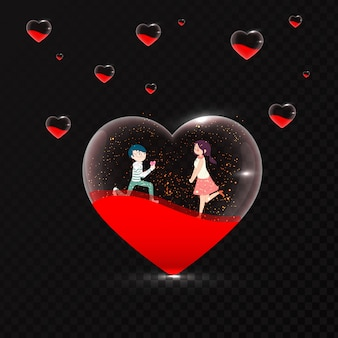 Cute romantic couple in transparent heart shape on black backgro