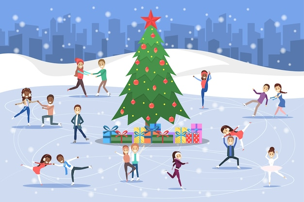 Cute romantic couples and professional skaters skate outdoors on the ice. winter activity and professional sport around christmas tree. flat vector illustration