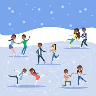 Cute romantic couples skate together outdoors. winter activity and professional sport.   illustration
