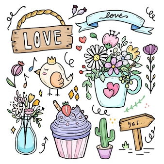 Cute romantic flower in the cup for wedding doodle