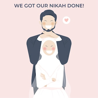 귀여운 로맨틱 이슬람 웨딩 커플은 행복한 미소로 서로를 껴안습니다.