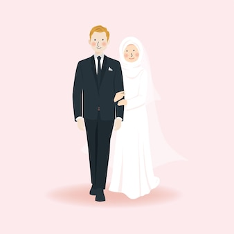 Cute romantic muslim wedding couple holding hand and walking together