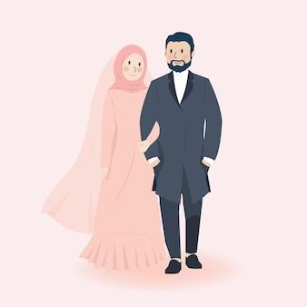 귀여운 로맨틱 이슬람 웨딩 커플 손을 잡고 웃 고
