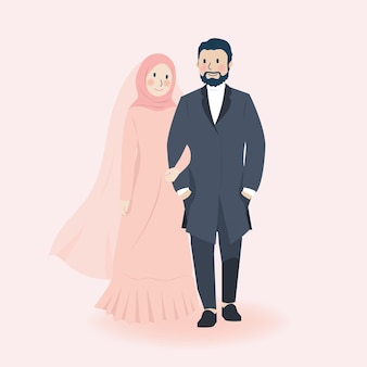 Cute romantic muslim wedding couple holding hands and smiling