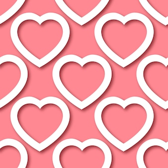 Cute romantic paper cut hearts on pink background seamless border pattern.