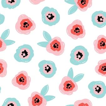 추상적인 꽃과 잎이 파란색 분홍색으로 된 귀여운 낭만적인 매끄러운 패턴입니다. 현대적인 평면 스타일, 멤피스 디자인. 손으로 그린 벡터 일러스트 레이 션. 인쇄, 직물, 섬유, 벽지 질감.