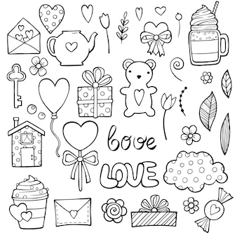 Cute romantic stickers set for valentine day dating. set of dating items.