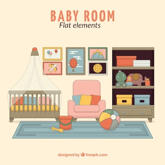 Cute room for baby in flat design