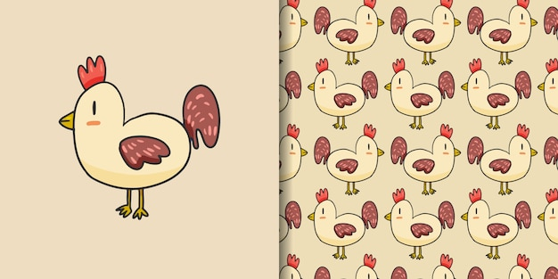 Cute rooster cartoon hand drawn style