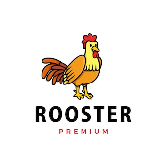 Симпатичный петух мультфильм логотип значок иллюстрации