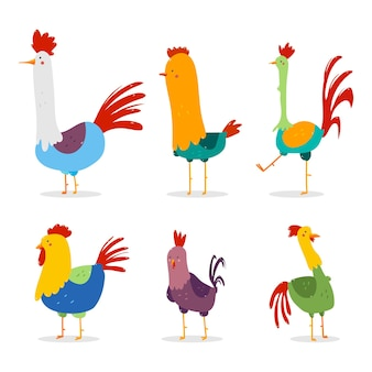 Cute rooster vector cartoon characters set isolated on a white background.