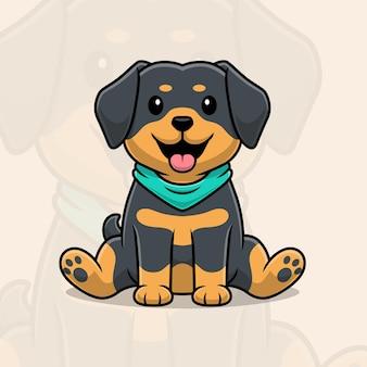 Милый ротвейлер собака мультфильм