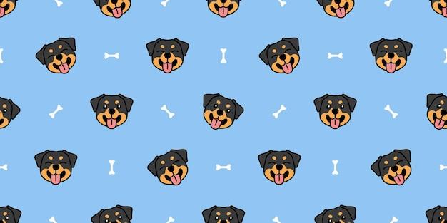 Cute rottweiler puppy cartoon seamless pattern, vector illustration
