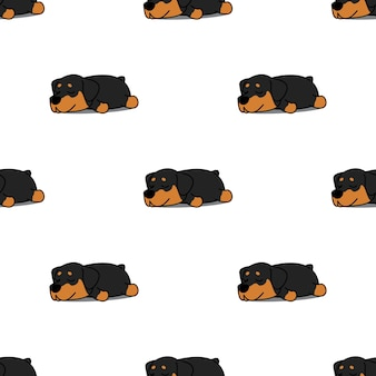 Cute rottweiler puppy sleeping seamless pattern