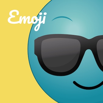 Cute round emoji cartoon over colorful background