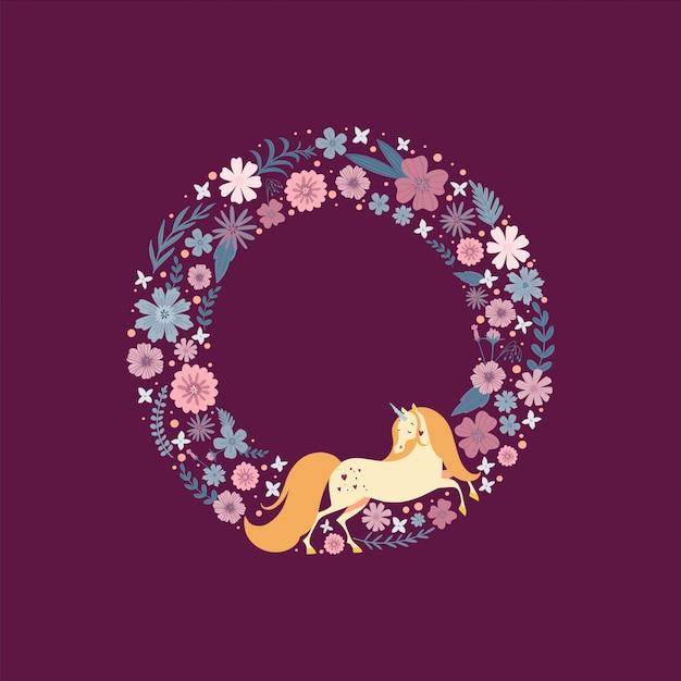 꽃으로 둘러싸인 마법의 유니콘 귀여운 라운드 프레임.